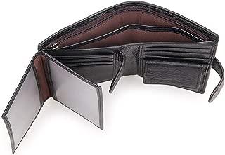 Genuine Leather Trifold Wallet RFID Blocking Anti Scan Zip (Black)