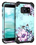 Casetego Compatible with Galaxy S7 Case,Floral Three Layer Heavy Duty Hybrid Sturdy Shockproof Full Body Protective Cover Case for Samasung Galaxy S7,Blue Flower