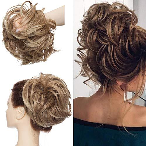 Tousled Updo Messy Bun Haarteil Haargummis Haarverlängerung Pferdeschwanz mit elastischen Haarteil Hair Extensions für Frauen Hellbraun bis aschblond