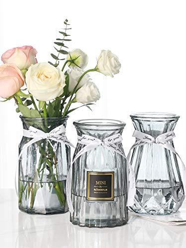Glasvase für Blumen, 3 Stück, transparent, 15,2 cm, für Büro, Zuhause, Schreibtisch, Übertopf, Dekoration, Hochzeiten, Veranstaltungen, Arrangements, Bücherregal