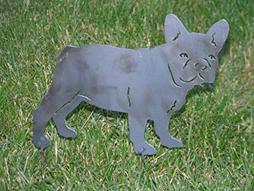 Dog Garden Stake, Metal Dog Yard Stake Art, French Bulldog Pet Memorial, Metal Garden Stakes Decorative, Metal Dog Ornament Decor, Home Art Decor Steel, Gifts for Dog Lovers Gardeners, 10' W x 7' H