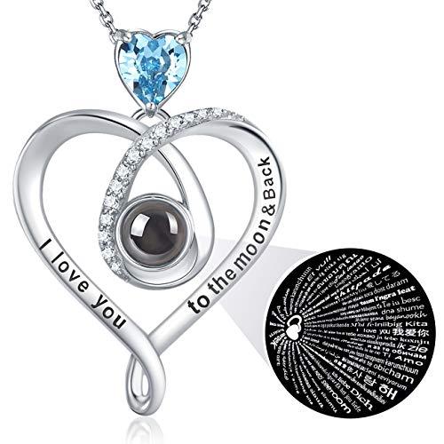 GinoMay Geburtstag Halskette Ich liebe dich Halskette 100 Sprachen Aquamarin Schmuck für Mutter Frau Geburtstagsgeschenk Ich liebe dich bis zum Mond und zurück Sterling Silber