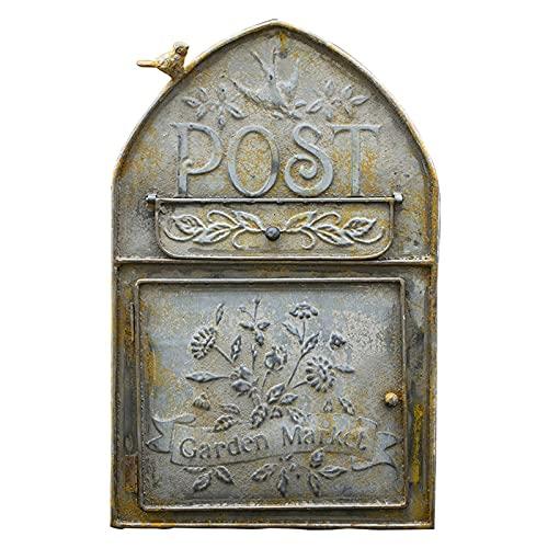 HWF Briefkasten Jahrgang Briefkasten An der Wand montiert für Draußen, Rustikal Gusseisen Briefkasten, Bauernhaus Briefkasten hängende Wand Briefkasten Aktenhalter für Eingangstor-Dekor im Freien