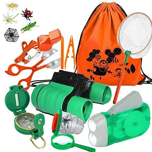 YiRAN Kit de Binoculares para niños - Binoculares para Niños Linterna de Manivela Brújula Lupa Silbato y Mochila con Cordones Juguetes de Exploración 17uds