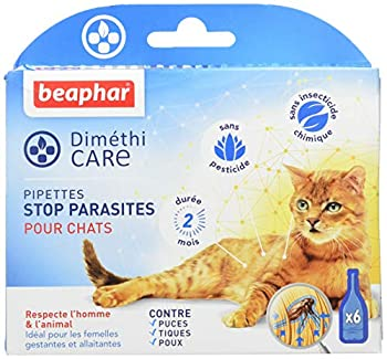 BEAPHAR – DIMÉTHICARE – Pipettes stop parasites pour chat – Contre puces, tiques et poux (adultes, œufs et larves) – Sans pesticide et sans insecticide chimique – Durée 2 mois – 6 pipettes
