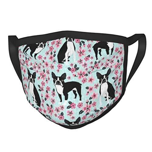 Boston Terrier Cherry Blossom Spring Dog Breed Pet Art Anti-dust Mouth Face_mask_Protect Cover Bandana Balaclavas Unisex Reusable Fashion Washable Cover Black