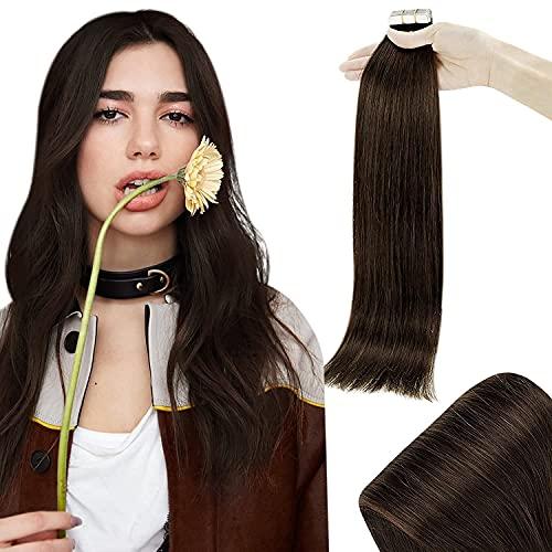 RUNATURE Haarverlängerung Echthaar 16 Zoll 40cm Farbe 2 Dunkelstes Braun Tape Kleber Extensions 50g 20 Stück Haar Extension Echthaar