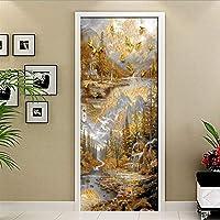 ドアステッカー 北欧ゴールデン町農村エルク壁紙PVC防水自己接着ポスターリビングルームのベッドルームのドアの装飾の壁画 (Sticker Size : 77x200cm)