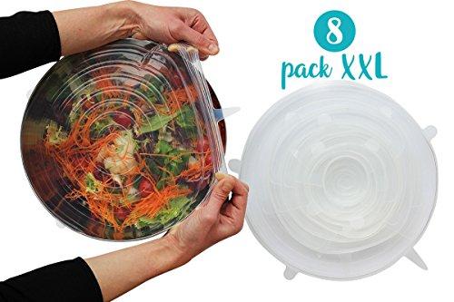 Couvercles en silicone extensibles sans BPA - Lot de 8 couvercles exclusivité taille XS à XXL (34cm) - réutilisables, étirables, hermétiques et adaptables à différentes tailles et formes de récipients
