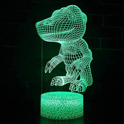 IANSISI Dinosaurio 3D LED Luz de Noche para niños, Control Remoto y táctil 7/16 Cambio de Color Lámpara de Escritorio LED Niños Cumpleaños Decoración del hogar