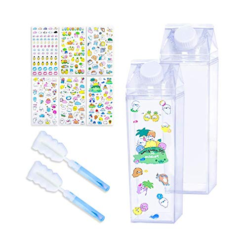 litulituhallo Botella de agua de cartón de leche transparente Botella de agua de cristal de plástico 500 ml botellas de leche lindas portátiles 2 unidades, con 6 pegatinas lindas