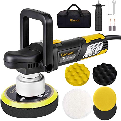 Ginour Polisher, 900W 6-inch Variable Speed Dual-Action Random Orbit Car Buffer Polisher with D-Handle & Side Handle, 6400RPM, Packing Bag, 5 Foam Disc for Car Polishing and Waxing-Yellow
