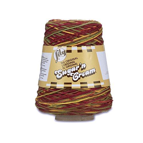 Lily Sugar'n Cream Cotton Cone Yarn, 14 oz, Autumn Leaves Ombre, 1 Cone
