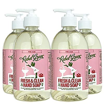 Rebel Green Fresh and Clean Liquid Hand Soap, 4 Pack, Natural, Sulfate-Free, and Hypoallergenic Hand Soap - 16.9 Ounce Pump Bottles, Pink Lilac Scent
