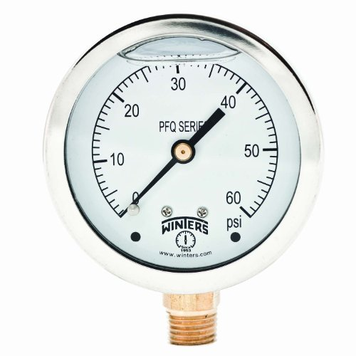 Winters PFQ Series Stainless Steel 304 Single Scale Liquid Filled Pressure Gauge with Brass Internals, 0-60 psi, 2-1/2' Dial Display, +/-1.5% Accuracy, 1/4' NPT Bottom Mount