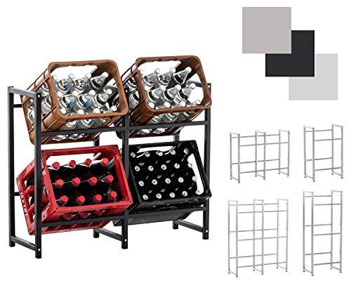 CLP Getränkekistenständer LENNERT I Platzsparender robuster Kistenständer für Getränkekisten I Verschiedene Ausführungen, Farbe:schwarz, Größe:L