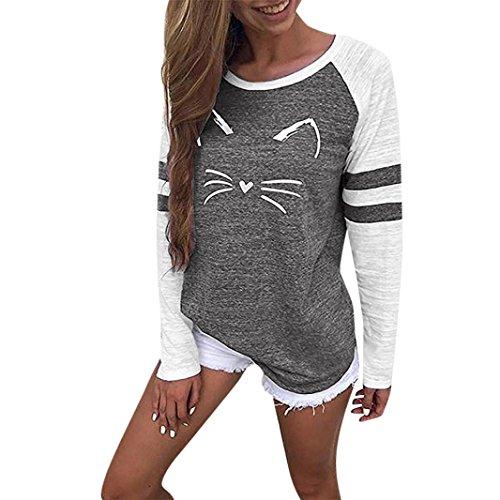 MORCHAN Femmes Dames Chat Impression T-Shirt à Manches Longues Tops Blouse(Noir,FR-38/CN-M)
