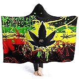 Searster$ Hooded Blanket Marihuana Cannabis Unkraut Rasta Fahnen Kapuze Decke weichen Flanell Sherpa Mens Women Wearable Neuheit Plüsch Fleece Decke Poncho, 127X102Cm