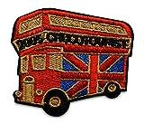 Finally Home London Bus England - Parche termoadhesivo, diseño de autobús de Londres