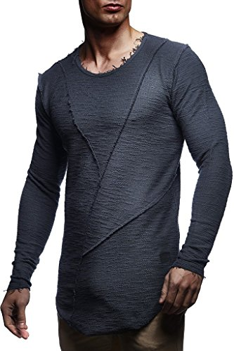 Leif Nelson Herren Oversize Sweatshirt Hoodie Hoody LN6323; Größe L, Anthrazit