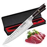 Professional Chefs Knife, 8 Inch Carbon Steel Knife for Kitchen, Sharp Kitchen Knife, Cuchillo De Cocina Gyutou Knife w/ Ergonomic Handle for Home Cooking & Restaurant (8-inch Chef Knife)
