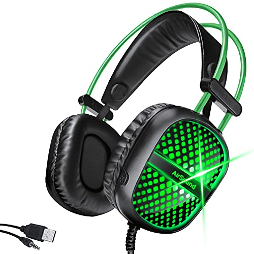 AirSound Alpha-7 Stereo Gaming Headset for Noise Cancelling Over-Ear Headphones with Mic, Neon LED, Bass Surround, Soft Memory Earmuffs for All Laptop