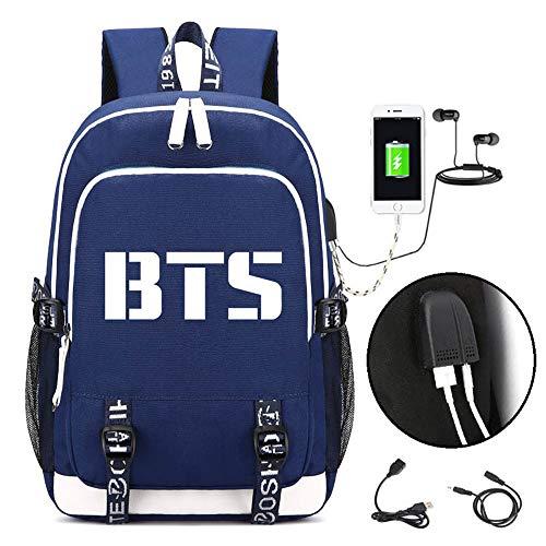 HMJZ Rucksack,BTS Drucken,mit USB Ladeanschluss Und KopfhöRer Schnittstelle,GroßE KapazitäT,Notebook-Tasche für MäNner Und Frauen,Blue