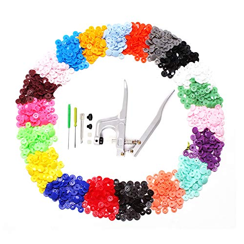 Snap Pliers + 400 Sets T5 Plastic Snap Buttons Fasteners 20 Colors Poppers Press DIY Studs Tools with Clear Storage Boxes