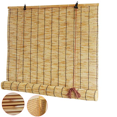 Zlovne Natural Reed Curtain Curtain Bamboo Blind,Roller Blinds Roman Blinds Louver Window Hand-Woven,Filter Curtains,for Outdoor/Indoor/Family/Teahouse,Anti-Uv,Customizable (50x60cm/20x24in)