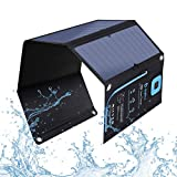 BigBlue 5V 28W Solar Charger with Digital Ammeter, Waterproof Foldable Solar Panels with Dual USB Ports Compatible with iPhone Xs/XS Max/XR/X/8/7S, iPad Air 2, Galaxy S8/S7/S6/Edge, LG, Nexus etc.