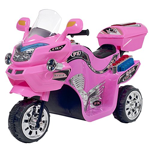 motorcycle toy for kids Ride on Toy, 3 Wheel Motorcycle Trike for Kids by Rockin' Rollers – Battery Powered Ride on Toys for Boys and Girls, 3 - 6 Year Old - Pink FX