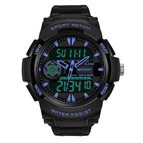 AYDQC Reloj de los Hombres de los Deportes, Estilo Militar Deportes Reloj, Reloj Luminoso Digital, a Prueba de Agua, for el Estudiante/Hombre/E Adolescente fengong (Color : F)