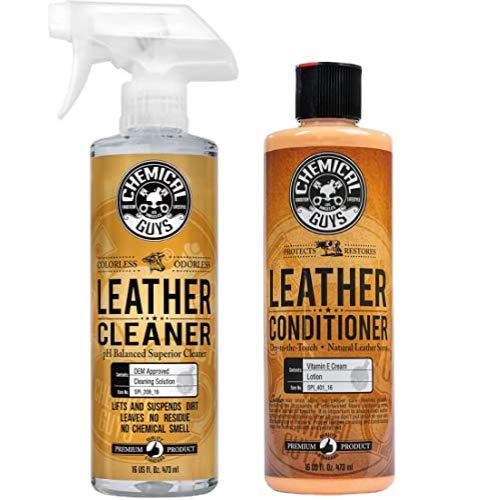 Chemical Guys SPI_208_16 Colorless and Odorless Leather Cleaner 16 oz with SPI_401_16 Vintage Series Leather Conditioner 16 oz