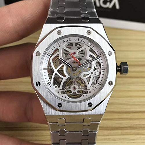 DMZZYGJR Luxury Men Stainless Steel Automatic Mechanical Sapphire Watch Silver Rose Gold Tourbillion Skeleton Royal Oaks Glass Silver White