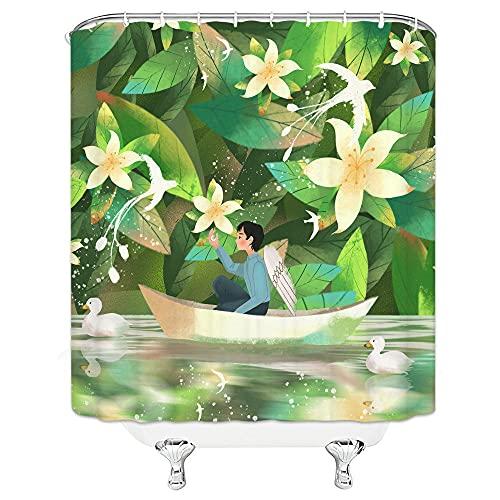 Duschvorhang 180x220 Grüngelber Druck Shower Curtains Anti-Bakteriell Duschvorhang Antischimmel Waschbar Duschvorhänge Polyester mit 12 Duschvorhangringen Duschvorhang Grau