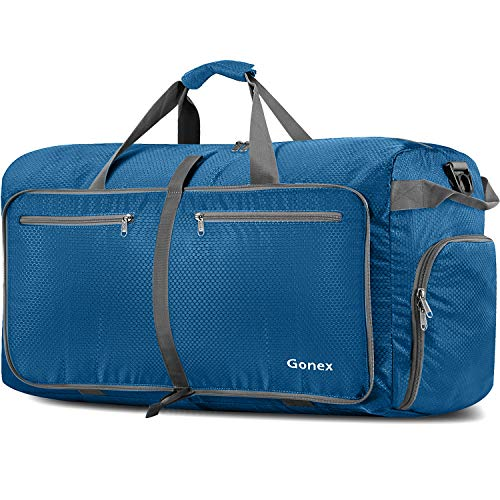 Gonex 150L Travel Duffel Bag Foldable Extra Large Duffle Bag XL Heavy Duty for Men Women for Luggage Shopping Deep Blue