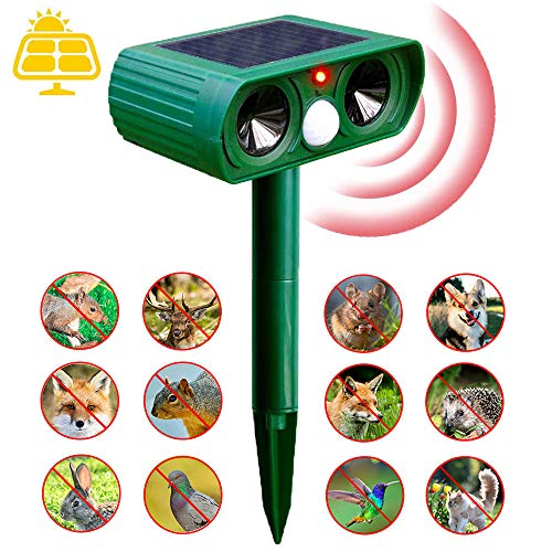 Cat Fox Repellent,Ultrasonic Animal & Pest Repeller, Solar Waterproof Cat Repellent Ultrasonic with 2 Speakers for Cats, Dogs, Birds, Foxes, in Garden Yard Field Farm