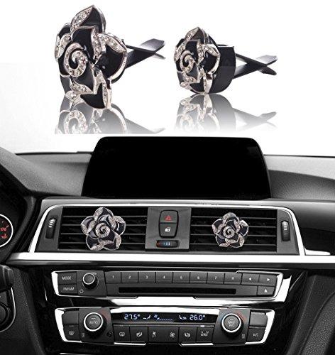 MINI-FACTORY Car Bling Decoration, Bling Car Interior Accessories Air Vent Sparkle Rhinestone Diamond Clip - Black Flowers (1 Pair)