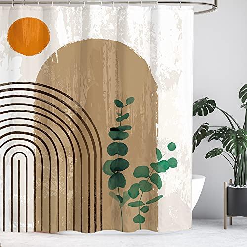 Yookeb Mid Century Abstract Bathroom Shower Curtain Sun Rainbow Eucalyptus Minimalist Rustic Modern Arch 60W by 71H Inch Polyester Fabric 12 Plastic Hooks Waterproof Decor