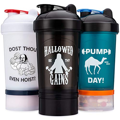 3 Pack Storage Shaker Bottle, 24oz Protein Shaker Cup
