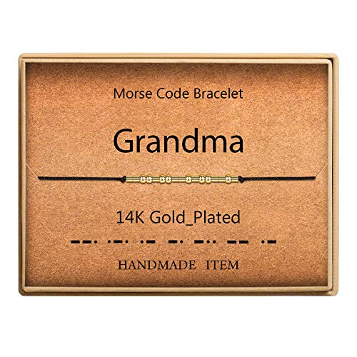 SANNYRA Morse Code Bracelet 14k Gold Plated Beads on Silk Cord Grandma Gift Bracelet Grandmother...