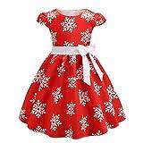 ღJiaMeng Kinder Weihnachten Schneeflocken Kleid Mädchen Kurzarm Kleid Weihnachtskleid Knielang Prinzessin Kleider Cute Baby Weihnachten Bekleidung