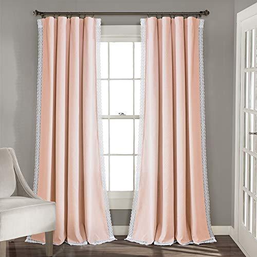 "Lush Decor Blush Rosalie Window Curtains Farmhouse, Rustic Style Panel Set for Living, Dining Room, Bedroom (Pair), 108"" x 54, 108"" x 54"""