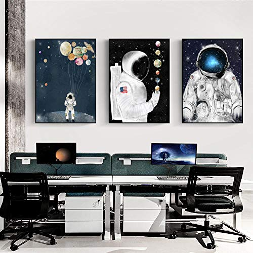 Astronaut Fashion Poster Universe Space Leinwand Wandkunst Druck Gemälde Bild Home Room Decor-50x70cmx3 STK. Kein Rahmen