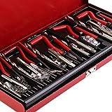 Herramienta de reparación de roscas duraderas YUIO Kit de reparación de roscas Helicoil Set Herramienta de taller de garaje Herramienta de reparación de retroceso profesional (negro, plata y rojo)