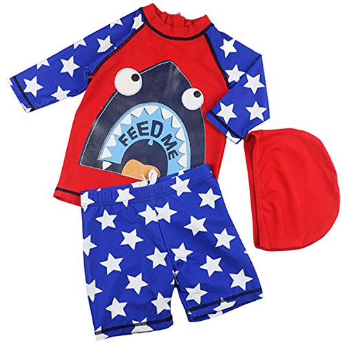 Bai You Mei Baby Boys Kids Long Sleeve UV Sun Protection Rash Guards Swimsuit with Hat Red 6-7T