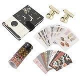 Juego de cintas Washi vintage, cintas adhesivas decorativas con 16 hojas de adhesivos y cuaderno...