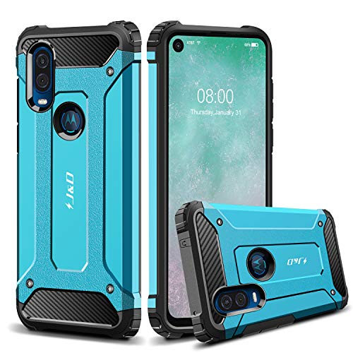 J&D Case Compatible for Moto One Vision Case, Heavy Duty ArmorBox Dual Layer Shock Resistant Hybrid Protective Rugged Case for Motorola Moto One Vision Case, Blue