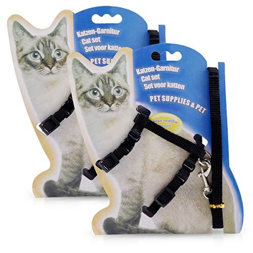 PETCUTE Arnés para Gatos con Correa Chaleco Ajustable para Gatos 2 Piezas Juego de arneses y Correa para Gatitos