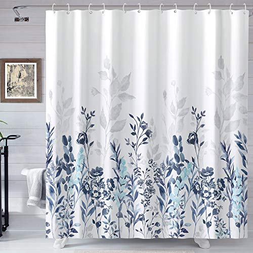 Neasow Blue and Grey Shower Curtain, Watercolor Floral Bathroom Curtain Teal and White Shower Curtains 72×72 inches